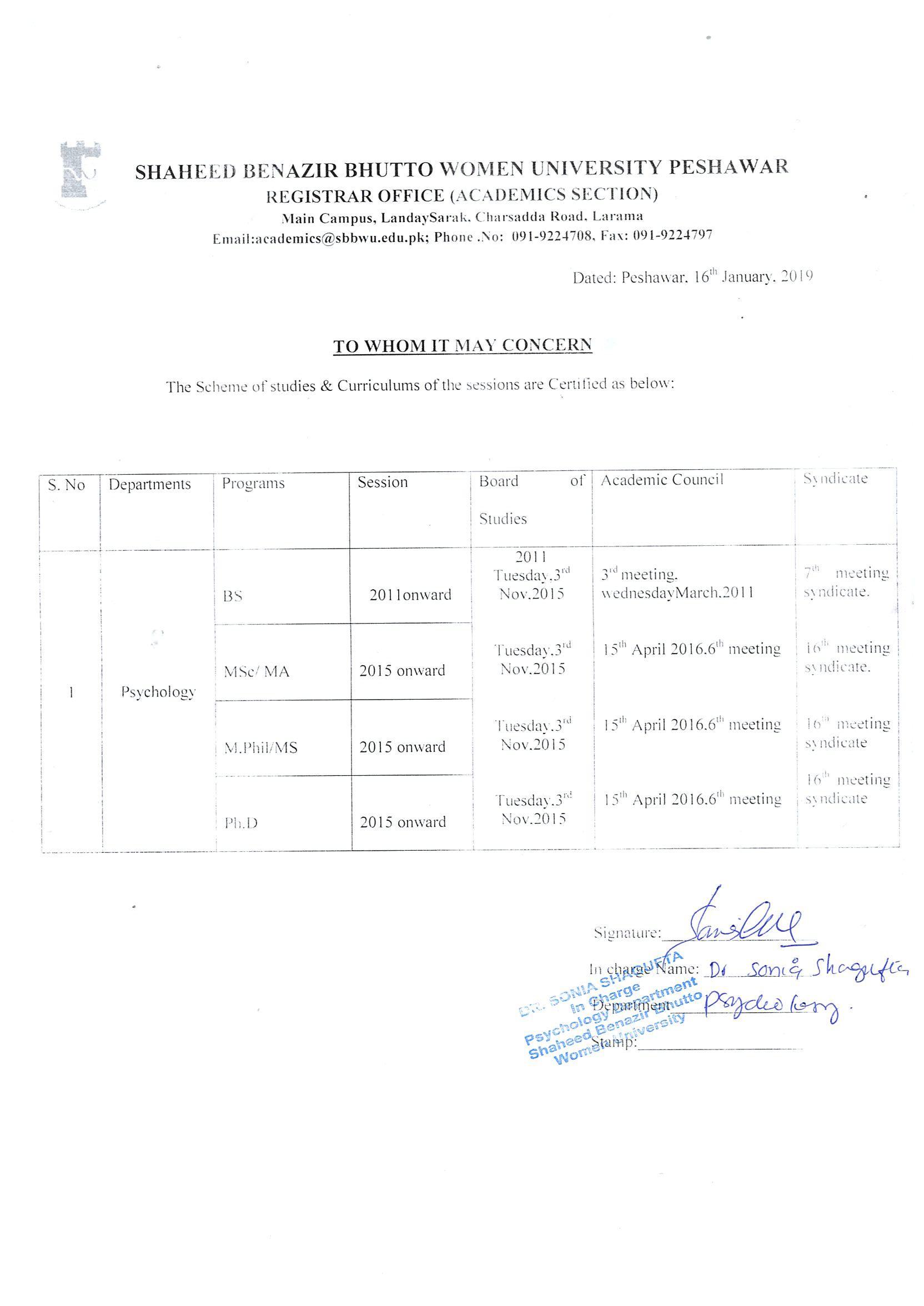 Department of Psychology Shaheed Benazir Bhutto Women